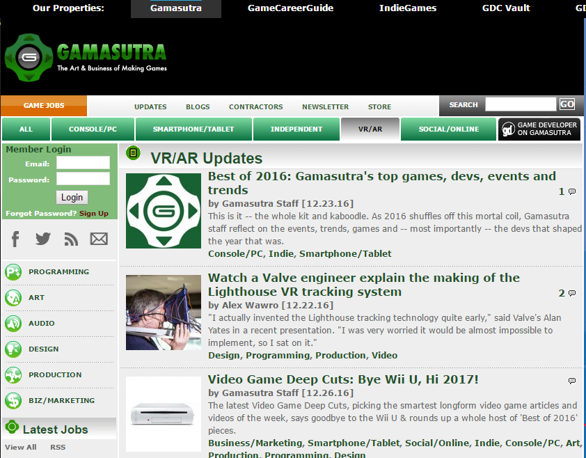 Gamasutra - Best Virtual Reality Websites