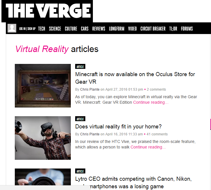 The Verge - Best Virtual Reality Websites