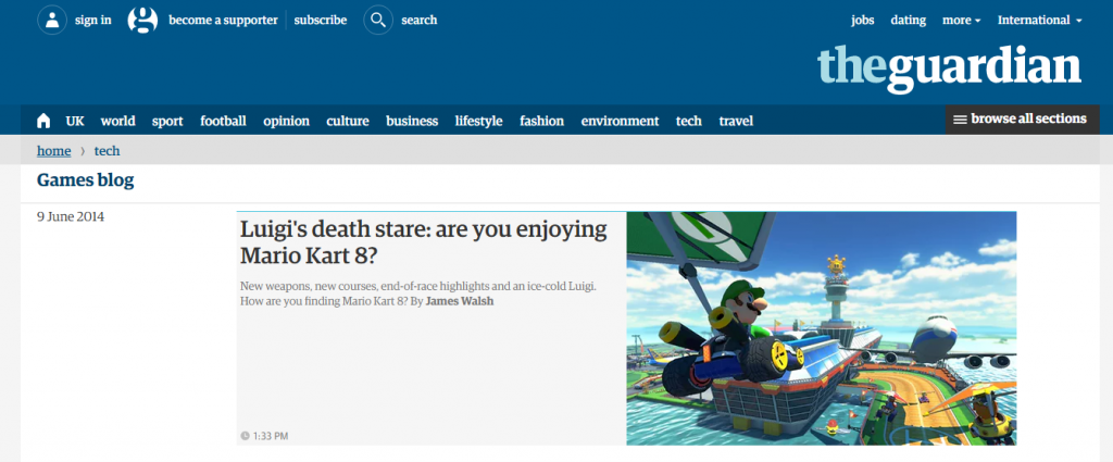 The Guardian - Best Gaming Website